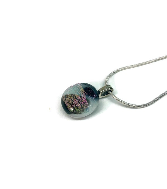 Dichroic glass jewelry, modern jewelry, fused glass necklace, Uniuqe Gifts for mom, minimalist jewelry, statement jewelry, unique gifts
