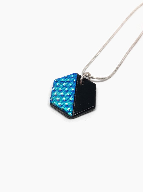Fused glass jewelry, unique gifts, glass necklace, minimalist jewelry, Dichroic Glass Pendant, Geometric jewelry, gifts for mom, gifts