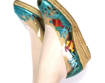 Shoes Espadrilles Vintage 1980s 80s AQUARIUM  FISH Wedge Novelty Spain 7