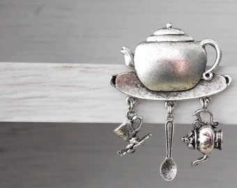 VERY last one Teapot Tea time Pin or Brooch - Anyone For TEA  - Vintage Styled  - cup & saucer teaspoon - Ltd Edition Etsy UK