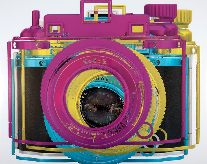 "Featured listing image: camERA art - Koday ""CMYK off reg"" is an original photograph of a midcentury rangefinder camera - transformed."