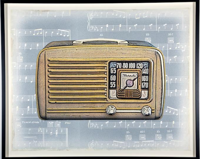 Featured listing image: Retro Radio - original contemporary photography - Motorola mid-century radio mixed media