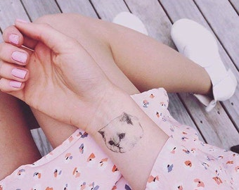 "Temporary ""Cat Tatts"" Tattoos - 3 cool fake cat tatts quick cattoos waterproof non toxic tats for kids Grumpy kitty festival fun"