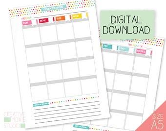 2018 Daily Planner - Printable Calendar - Printable Weekly Calendar - Weekly Calendar - Printable Weekly Planner - Printable Calendar