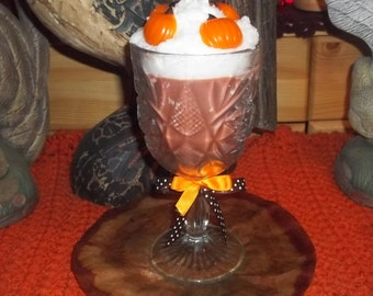 "Fall PUMPKIN SOY CANDLE in Stemmed Cut Glass Goblet 8"" Tall - U Pick Fragrance"