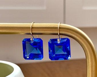 14k gold filled swiss blue topaz earrings- 25.60 carats