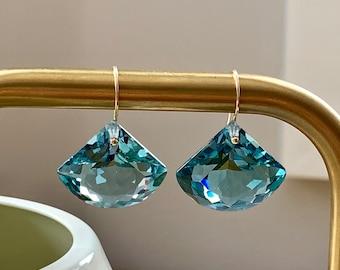 14k gold filled light green amethyst earrings- 33.65 carats