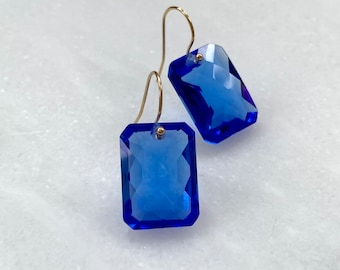 14k gold filled swiss blue topaz earrings- 29.05 carats