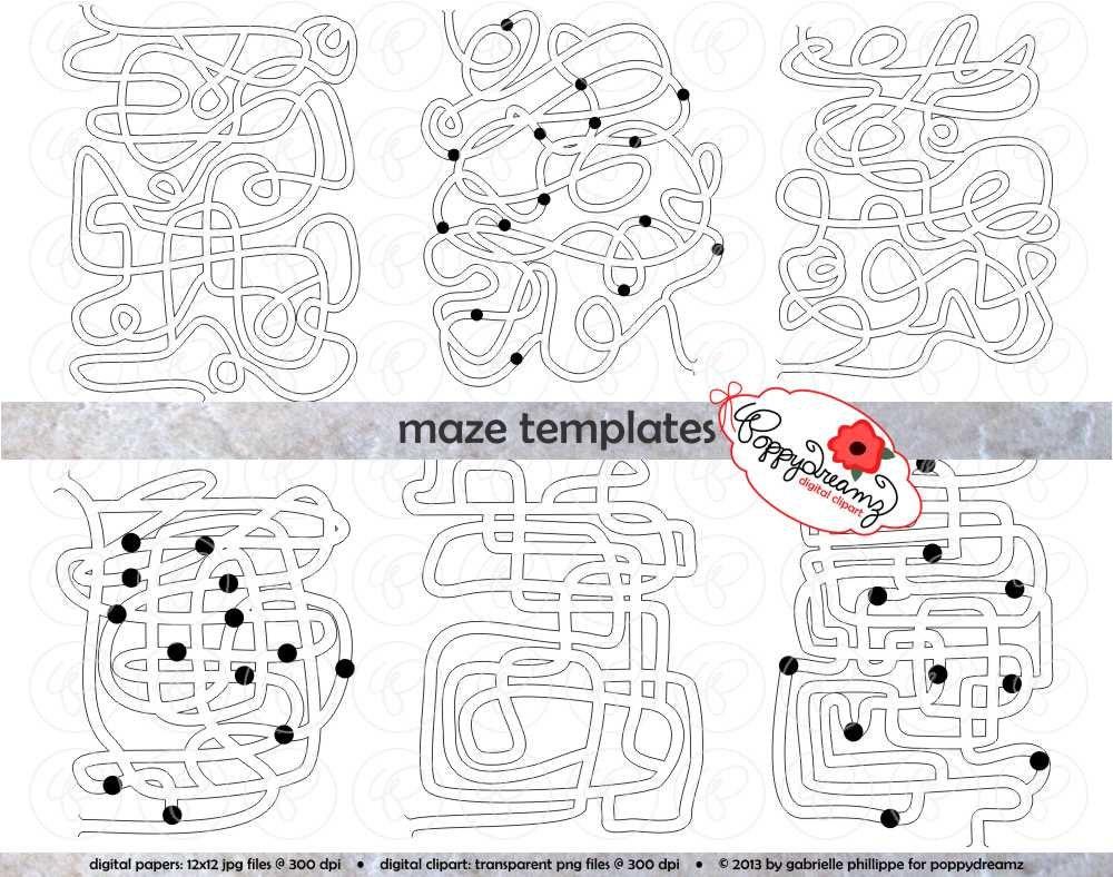 Maze Template Clipart SET: 300 dpi School Teacher Clip Art