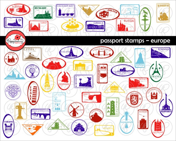 Passport Stamps European Landmarks And National Symbols Etsy
