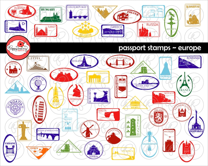Passport Stamps European Landmarks and National Symbols Digital Clip Art: