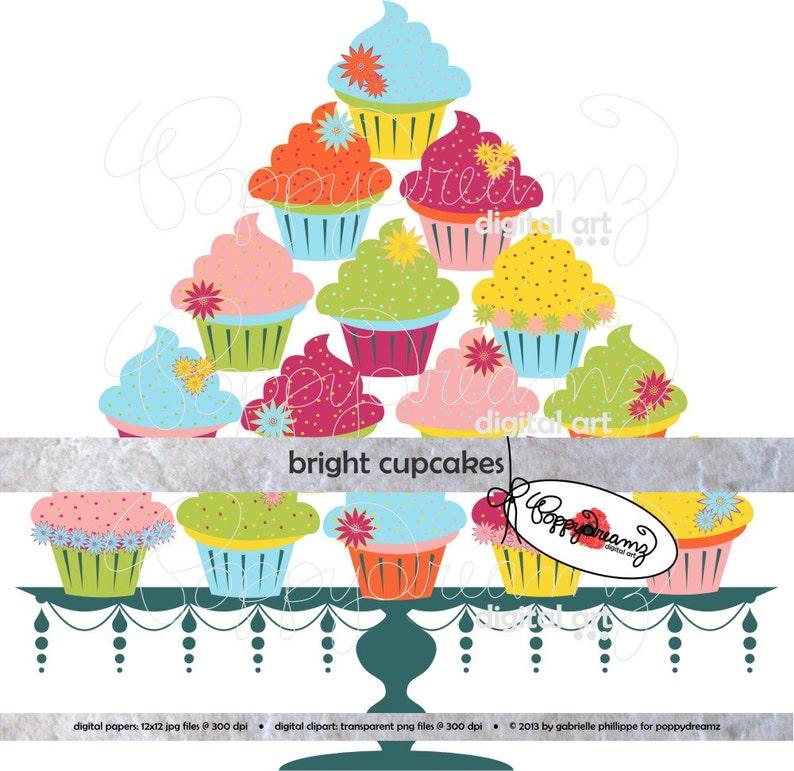 Bright Cupcakes Digital Clip Art Pack 300 Dpi