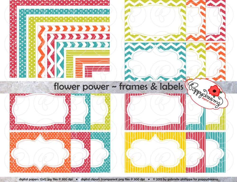 Flower-Power-Rahmen & Labels: Clip Art Pack Card digitale | Etsy