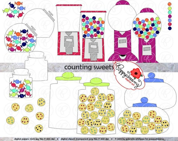 Counting Sweets Candy Gumball Amp Cookie Clipart Set 300 Dpi