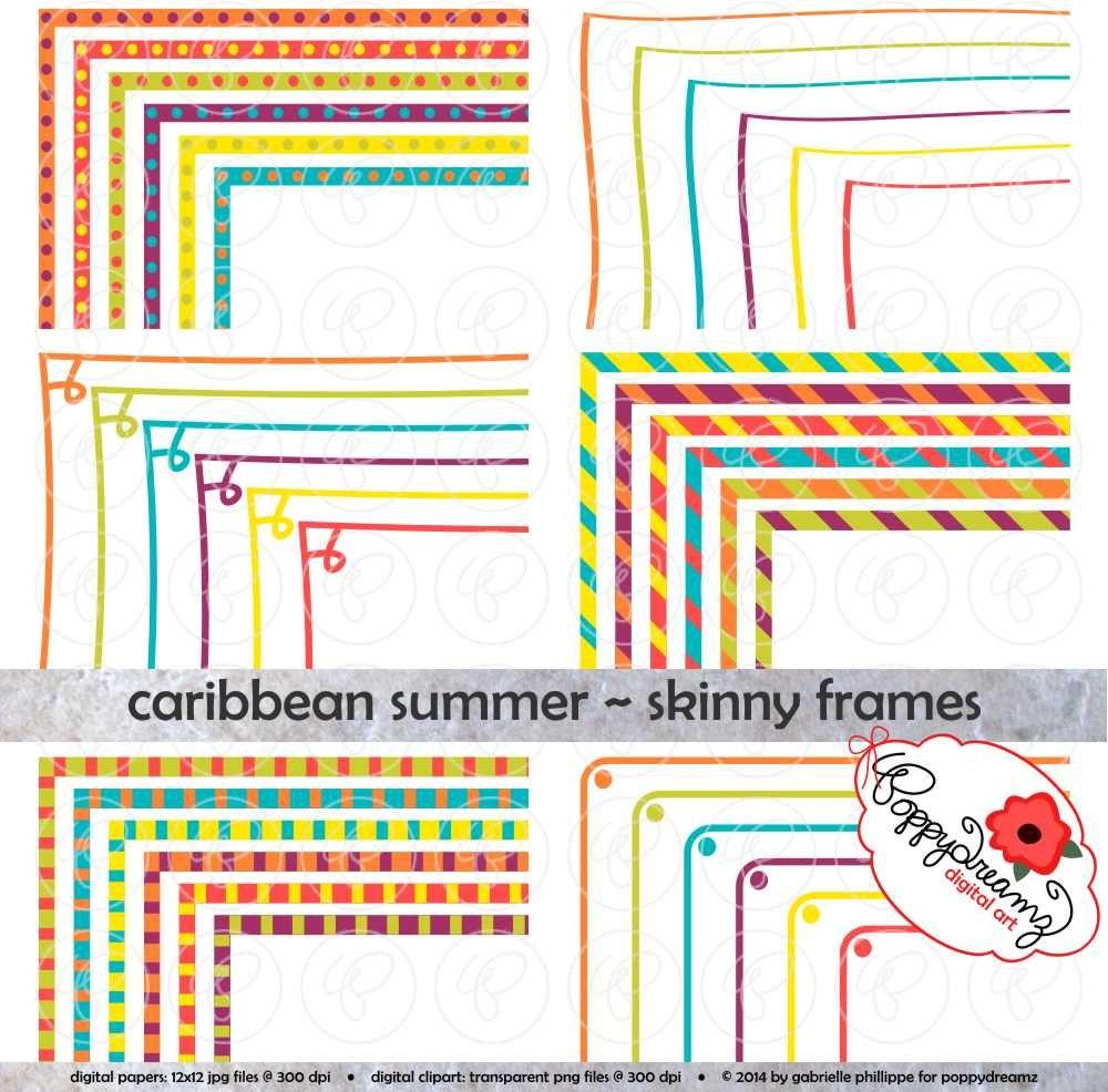 Karibik Sommer Skinny Rahmen Mega Pack: Clip Art Pack Card | Etsy