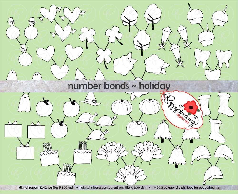 Number Bonds Holiday Clipart Set 300 dpi School Teacher | Etsy