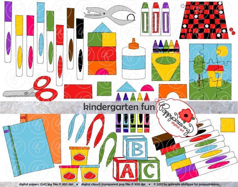 Kindergarten Fun School Supply Clipart: (300 dpi transparent png) School  Teacher Clip Art Supplies Crayons Markers Scissors Games Blocks