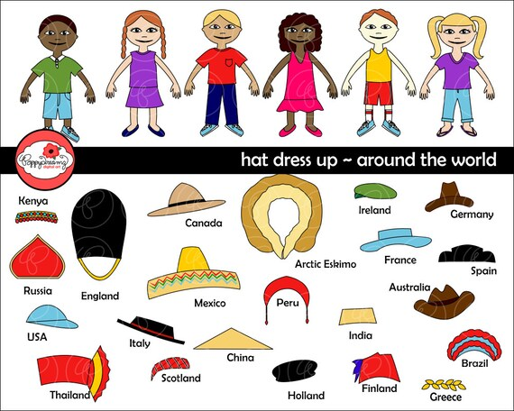 Hat Dress Up Around the World Digital Clip Art  England Italy  09464bb7245
