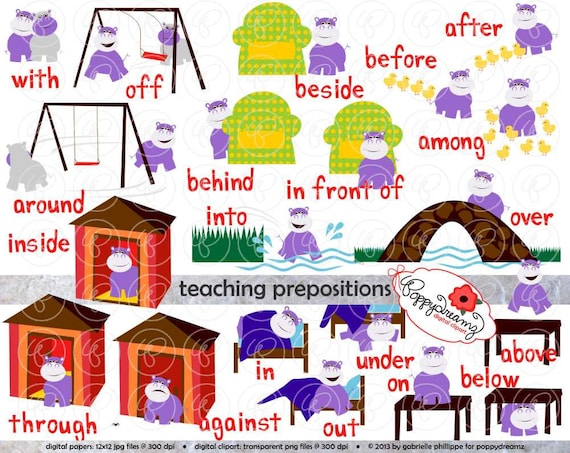 Teaching Prepositions Clipart Digital Flashcards
