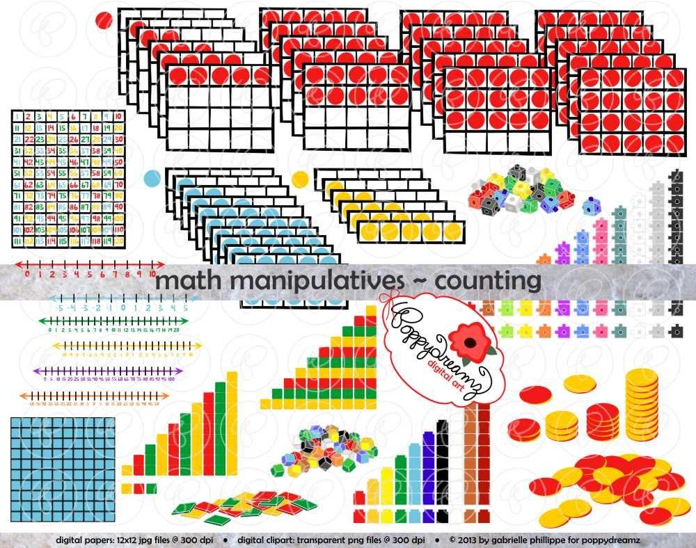 math manipulatives counting clipart mega bundle set 300   etsy