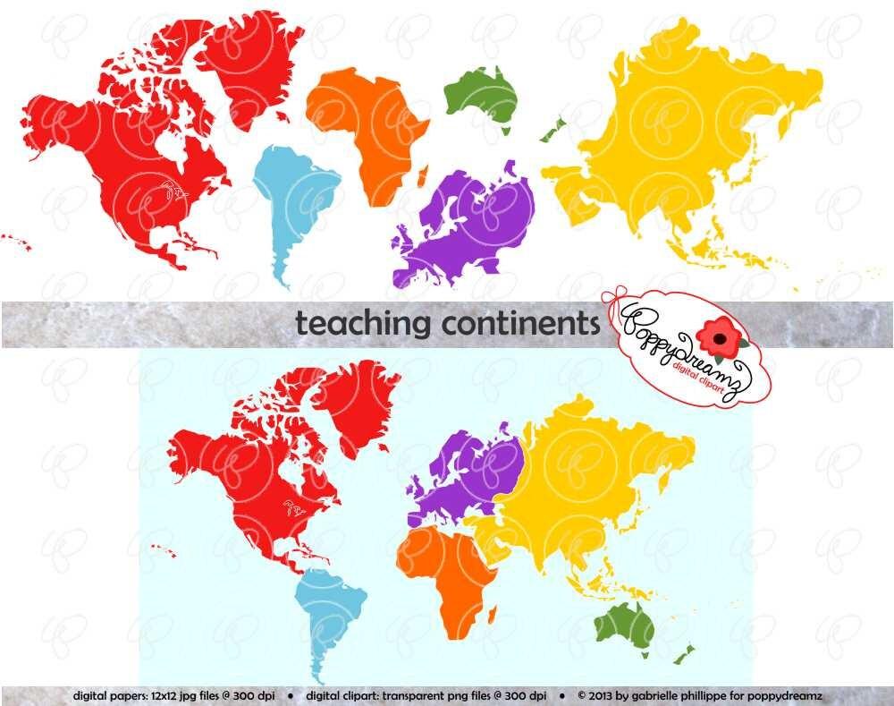 Lehre Kontinente Digital ClipArt: Nordamerika Südamerika | Etsy