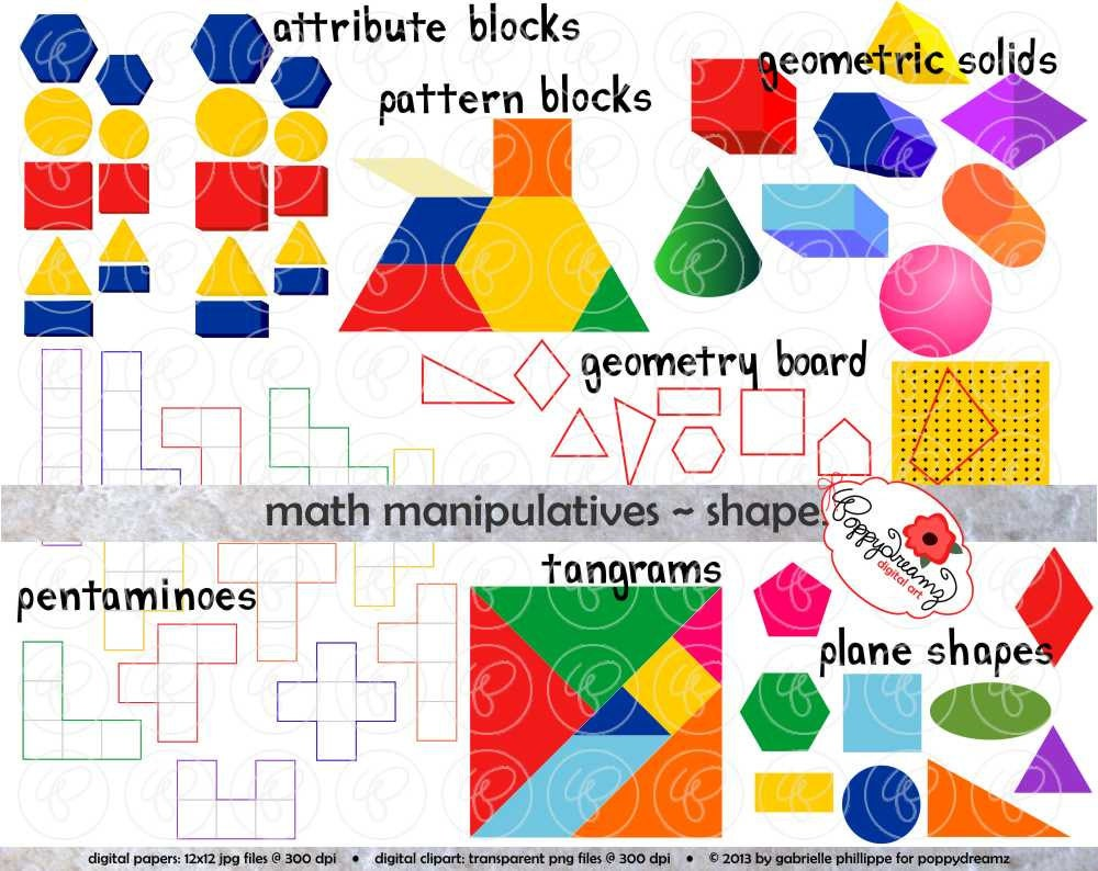 math manipulatives shapes clipart set 300 dpi school | etsy