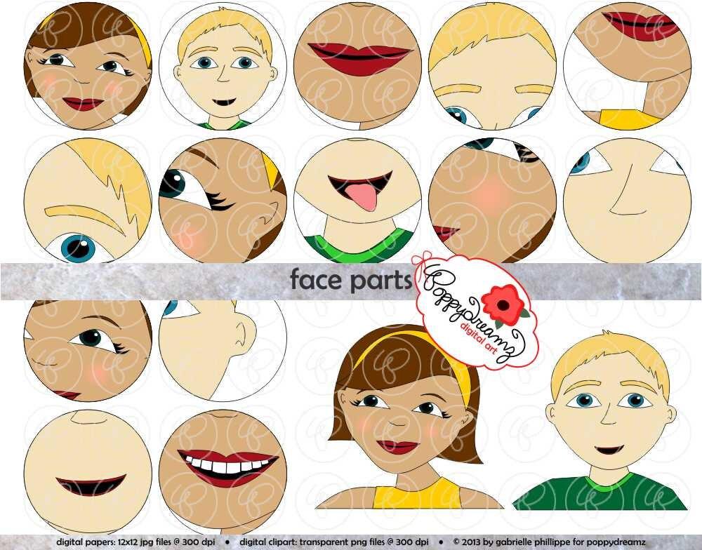 Gesicht Teile Clipart Set 300 dpi Schule Lehrer Clip Art | Etsy