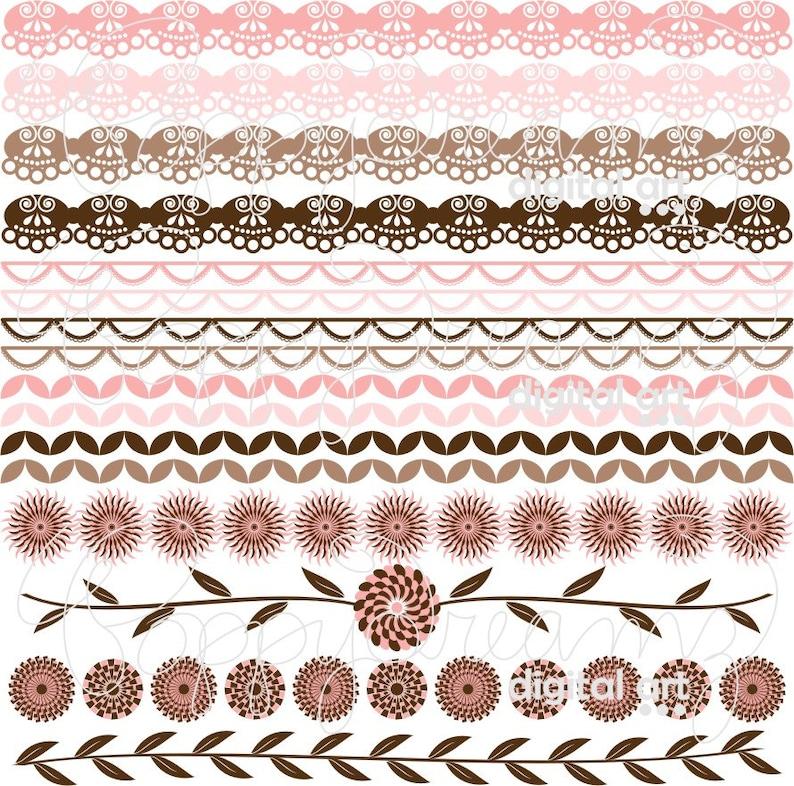 Wedding Bridal Baby Shower Floral Brown Pink 300 dpi Digital Scrapbook Paper Pack Floral Amore Borders