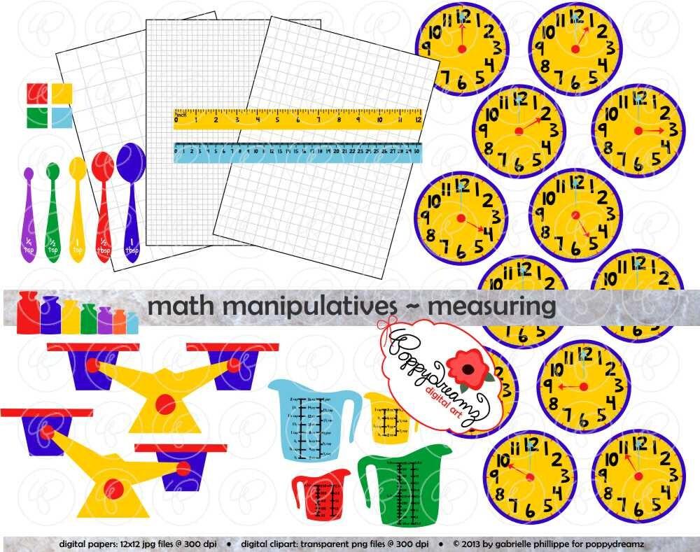 math manipulatives measuring clipart mega set 300 dpi | etsy