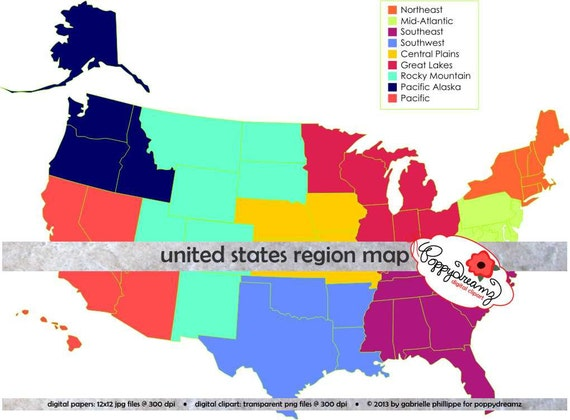 Map Of The United States By Regions.United States Region And State Map Teaching Resources Clipart Etsy