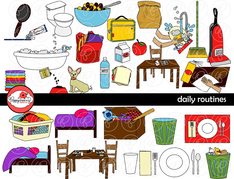 Daily Routines Clipart: 300 dpi transparent png School image 0