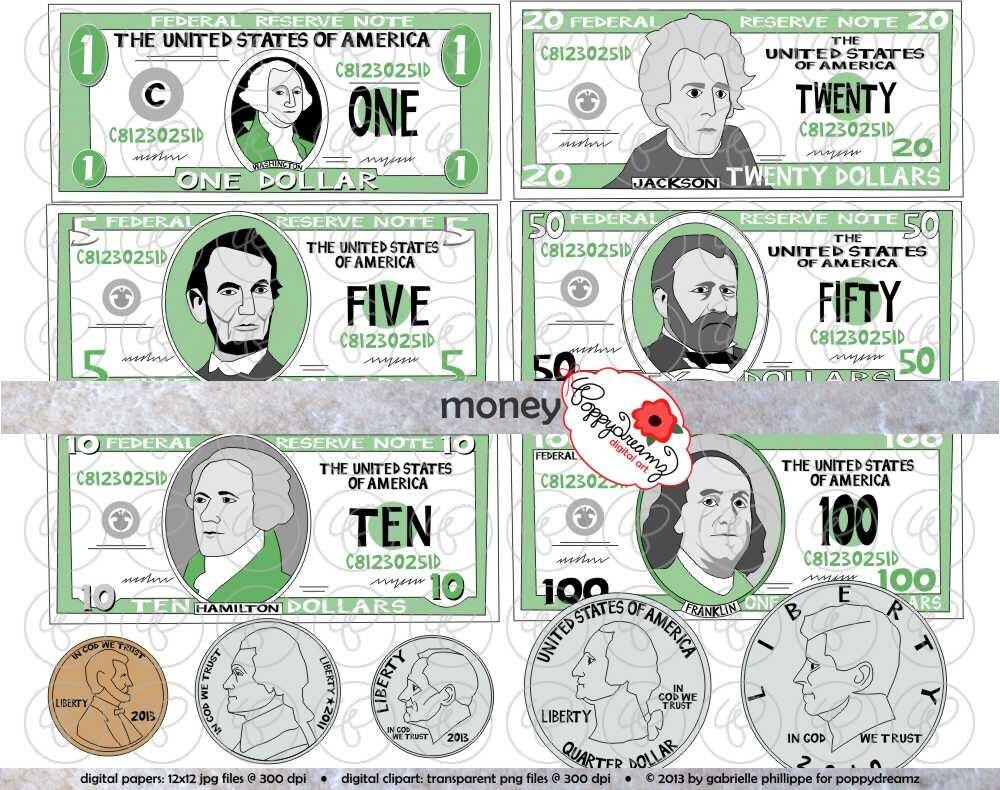 money clipart set 300 dpi school teacher clip art math rh etsy com Printable American Money Money Clip Art