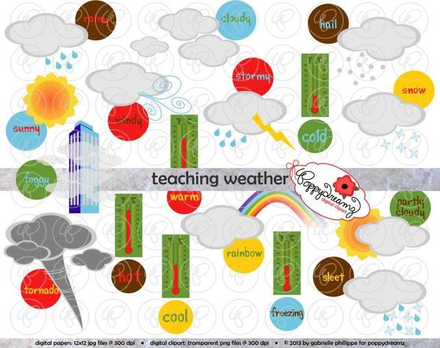 teaching weather clipart set 300 dpi school teacher clip art etsy rh etsy com Weather Forecast Clip Art Weather Forecast Clip Art