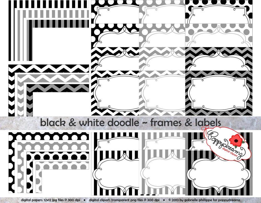 black white doodle frames and labels clip art pack card etsy