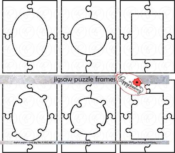 Jigsaw Puzzle Frames Template PDF and Clipart SET: 300 dpi