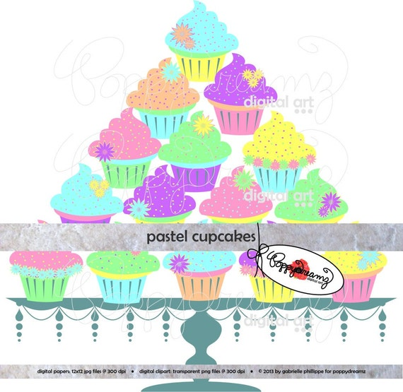 Pastel Cupcakes Digital Clip Art Pack 300 Dpi Digital Images Png Format Transparent Background Birthday Clipart Cupcake Cake Stand