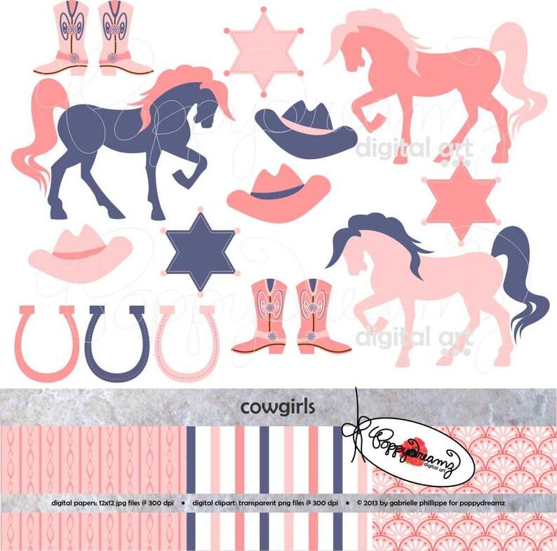 Cowgirls Digital Clipart Scrapbook Paper Set 300 Dpi Boots Etsy