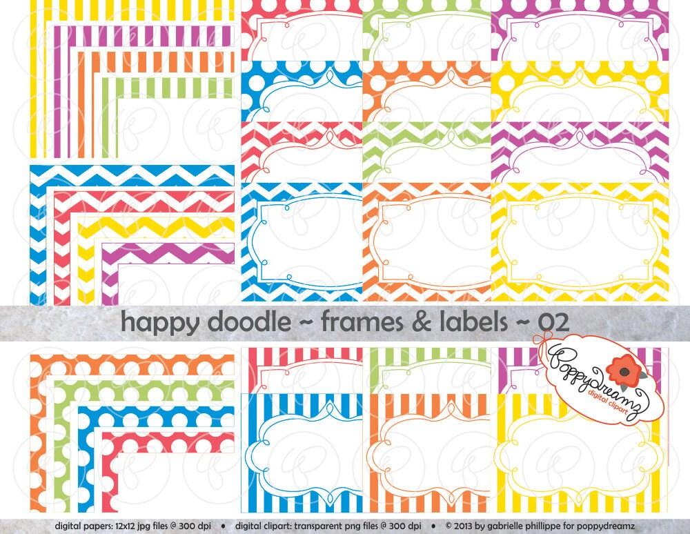 Glücklich Doodle Frames & Etiketten 02: Clip Art Pack Karte | Etsy