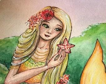 """Original Mermaid Art """"Starfish Cove"""" by Amanda Shelton Small Mermaid illustration, watercolor art, mixed media art"""