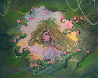 "Original Gouache Illustration ""The Maple Fairy"" by Amanda Shelton - 8x8 inches painting, art, original art, nature, garden art, fantasy art"