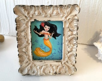 Tiniest Mermaid Framed mini-painting, gouache, approx 3 inches tall