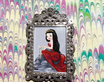 Original Mini Mermaid art framed in ornate frame by Amanda Christine Glittery Red tailed Mermaid Mini Mermaid illustration