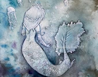 Original Mini Mermaid- Among Blue Jellies Watercolor Mermaid by Amanda Christine; Mini Mermaid jellyfish illustration