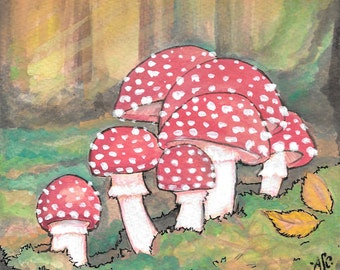 Original mushroom illustration in ink and gouache on tea stained paper, 4x6 inches