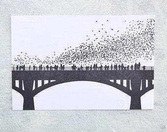 Letterpress Postcards - Austin Bats (Set of 3)