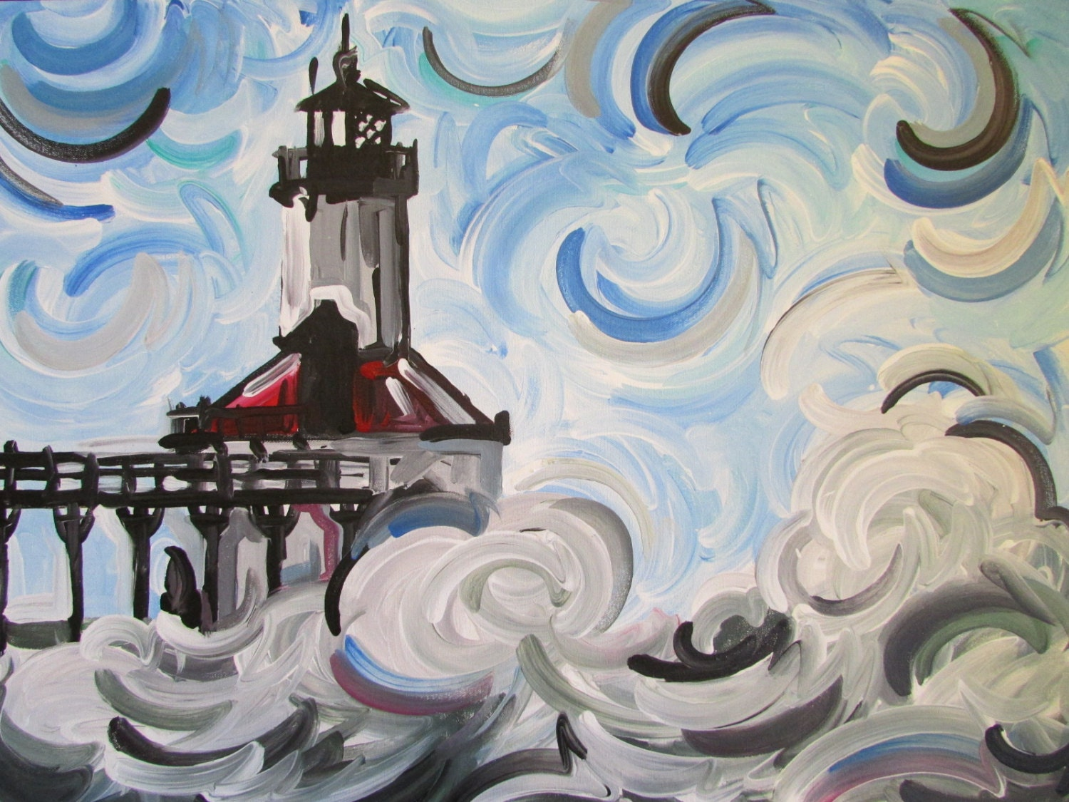 24x30 Michigan City Lighthouse Painting by Justin Patten Art Indiana Lake  Shore Long Beach Beverly Shores Chicago Wisconsin