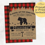 Lumberjack Birthday Invitations for Boys, Printable First Birthday Lumberjack Invitation, Wild One First Birthday Party Invitations, Plaid