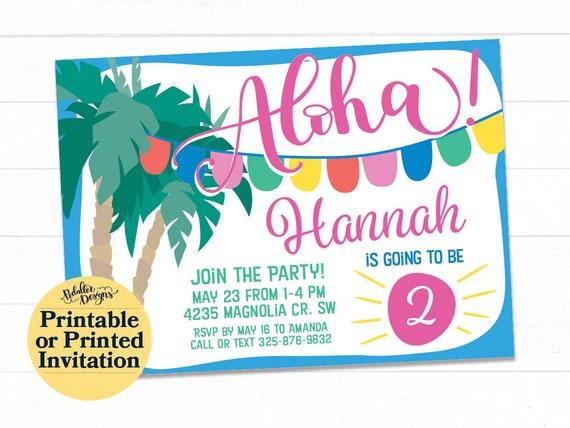 Pool Party Invitation Aloha Luau Birthday