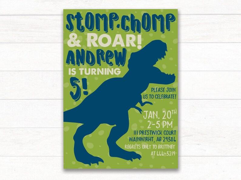 Dinosaur Birthday Invitation Party Printable Invite First 1st Boy