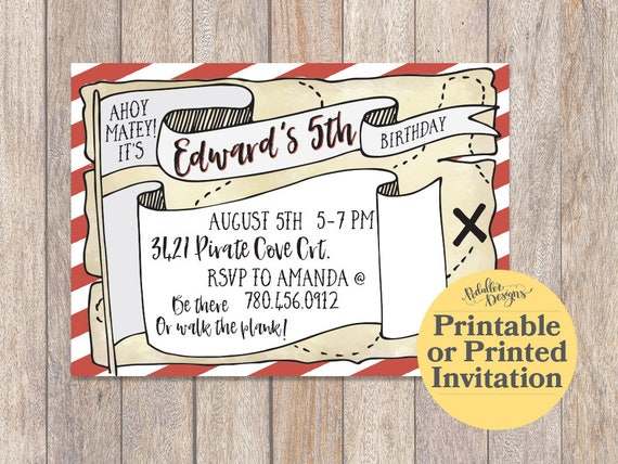 pirate birthday invitation pirate party printable invitations